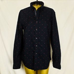 Cute Navy white polka dot with red spades shirt